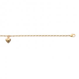 Bracelet cheville,avec breloque en forme de coeur, plaqué or.