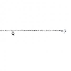 Bracelet cheville,avec breloque en forme de cœur, argent.