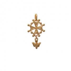 Pendentif croix huguenote  plaqué or
