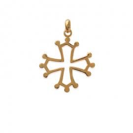 Pendentif croix occitane plaqué or