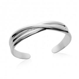 Bracelet rigide ouvert, en argent, trois lignes