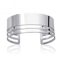Bracelet jonc ouvert en argent (3 lignes).