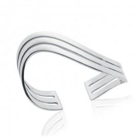 bracelet jonc argent 3 lignes en forme de vague