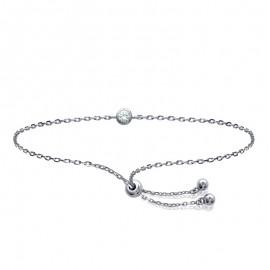 bracelet chaine en argent et oxyde de zirconium
