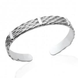 Bracelet jonc tressé en argent et trois bandes