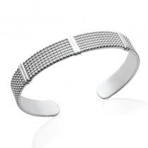 Bracelet, rigide, jonc en argent avec petites perles d'argent