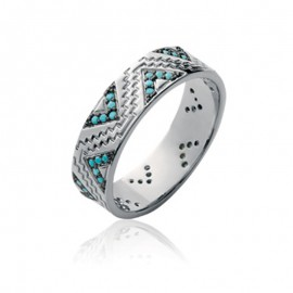 Bague en argent et décoration triangle et pierre synthètique couleur turquoise