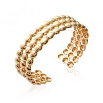 Bracelet plaqué or, petites spheres, 3 rangs