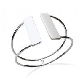 Bracelet jonc en argent ouvert en haut avec double rectangles
