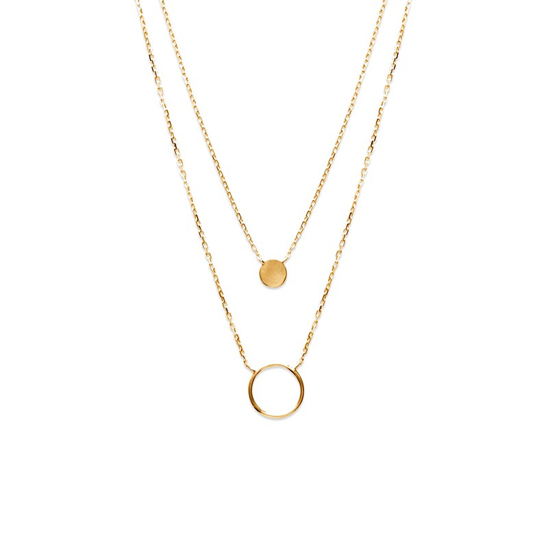 Double collier plaqué or avec pendentifs ronds