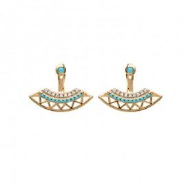 Boucles d'oreilles plaqué or, turquoise et oxyde de zirconium