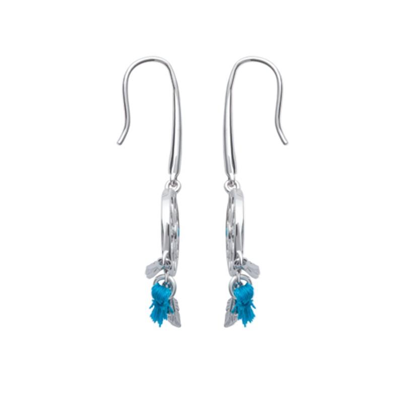 Boucles d'oreilles attrape rêve en argent, bleu turquoise.