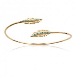 Bracelet jonc ouvert double plume et turquoise
