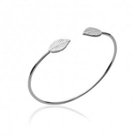 Bracelet jonc en argent ouvert, deux feuilles