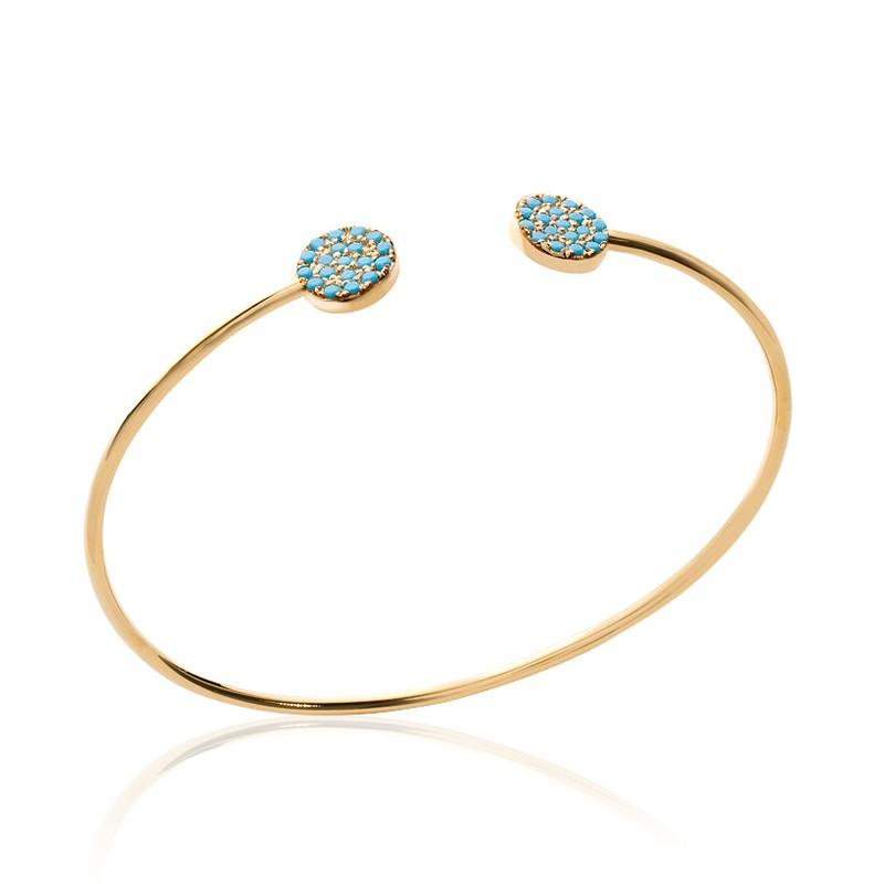 Bracelet plaqué or et  turquoise synthétique.