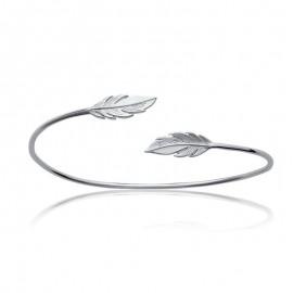 Bracelet en argent rigide, plume