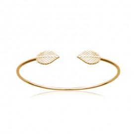 Bracelet jonc rigide avec deux feuilles et plaqué or.