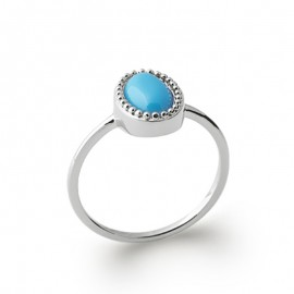 Bague en argent avec  petite pierre couleur bleu turquoise