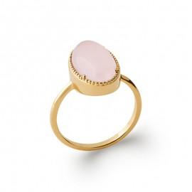 Bague pour femme plaqué or avec cabochon en quartz rose