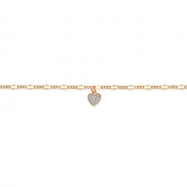 Bracelet cheville plaqué or avec cœur et oxyde de zirconium