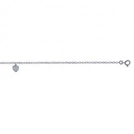 Bracelet cheville en argent avec cœur et oxyde de zirconium