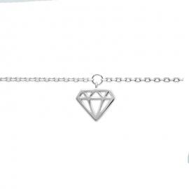 Chaine de cheville avec un pendentif en forme de diamant, argent.