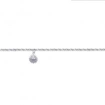 Bracelet cheville, chaine, en argent avec pendentif soleil.