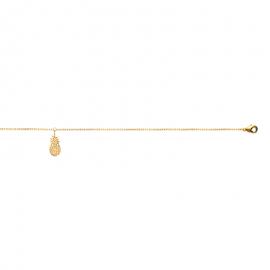 Bracelet cheville, chaine, plaqué or avec pendentif ananas.