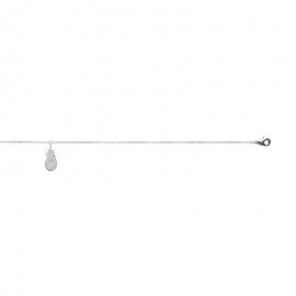 Bracelet cheville, chaine, en argent avec pendentif ananas.