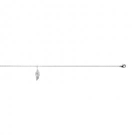 Bracelet cheville en argent avec plume. fermoir mousqueton