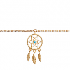 Bracelet cheville, chaine, plaqué or, avec attrape rêves.