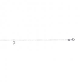 Bracelet cheville en argent, avec breloque lune. fermoir mousqueton en argent