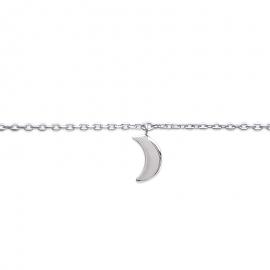 Bracelet cheville en argent, avec breloque lune.