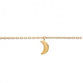 Bracelet cheville, plaqué or, avec breloque lune.