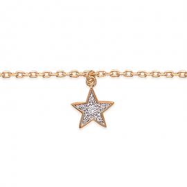 Bracelet cheville, plaqué or, avec breloque étoile et oxyde de zirconium