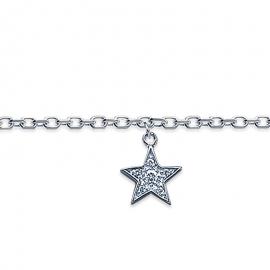 Bracelet cheville, argent, avec breloque étoile et oxyde de zirconium