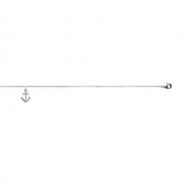 Bracelet cheville, argent, avec breloque ancre.