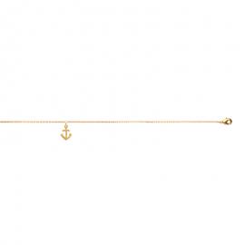 Bracelet cheville, plaqué or, avec breloque ancre marine.