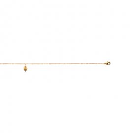 Bracelet cheville, plaqué or, avec breloque feuille d'arbre.