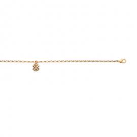 Bracelet cheville, plaqué or, avec breloque trèfles à quatre feuilles.