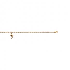 Bracelet cheville, plaqué or, avec dauphin.
