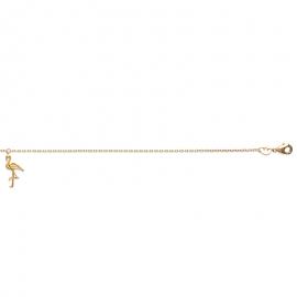 Bracelet cheville, plaqué or, avec flamant rose.