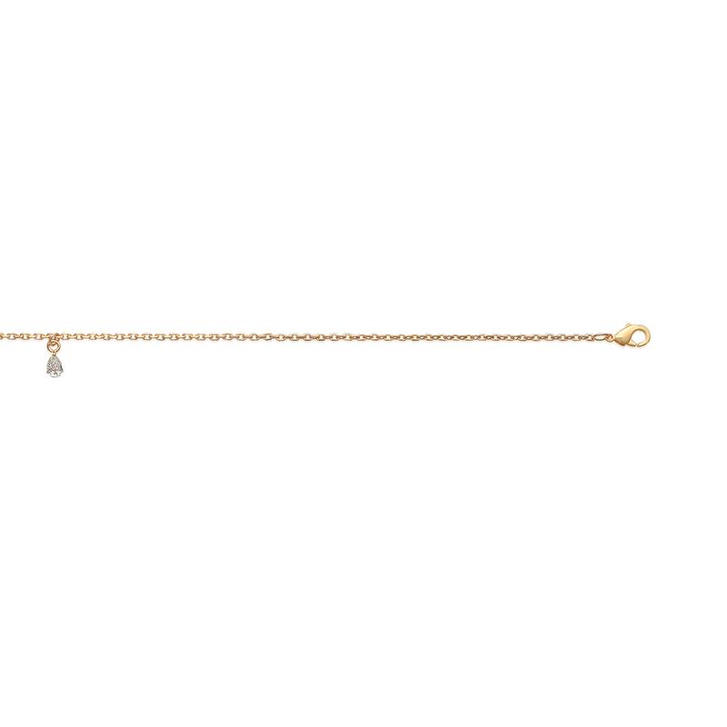 Bracelet cheville, plaqué or et solitaire oxyde de zirconium