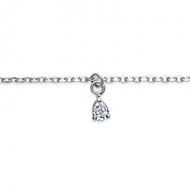 Bracelet cheville, en argent, et avec un solitaire en oxyde de zirconium