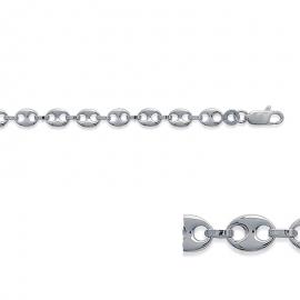 Bracelet chainr, argent, grain de café, largeur de 4.9 millimètres.