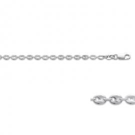 Collier chaine, en argent, grain de café largeur de 3.7 millimètres.