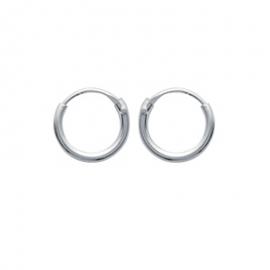 Boucles d'oreilles créoles, en argent, 8mm diamètre file 1.5mm