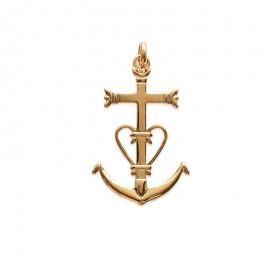 Pendentif Croix de Camargue plaqué or (grand)