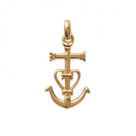 Pendentif Croix de Camargue plaqué or (petit)